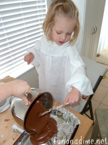 Pouring Brownies