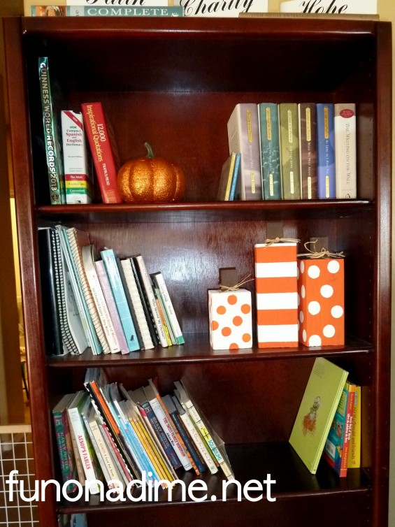 Wood Fall decor on Bookshelf
