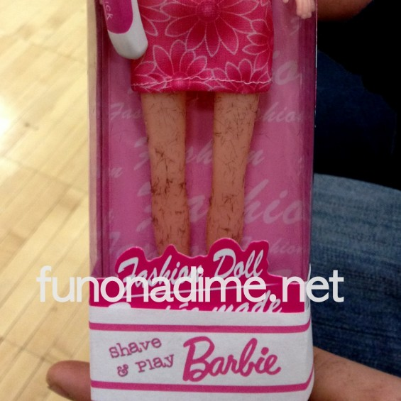 Shave and Play Barbie with hairy legs - White Elephant Gift Idea