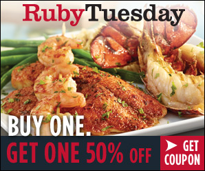 Ruby Tuesday coupon, buy one get one half off