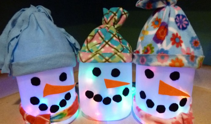 Kid Made Snowman Lantern - Recycle Art