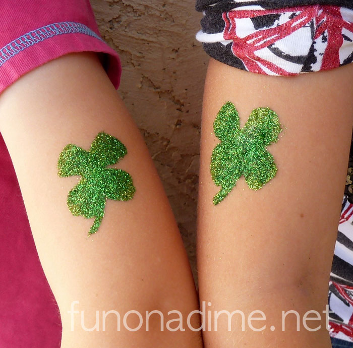 Homemade Glitter Tattoos - St Patrick's Day Pinch Protection