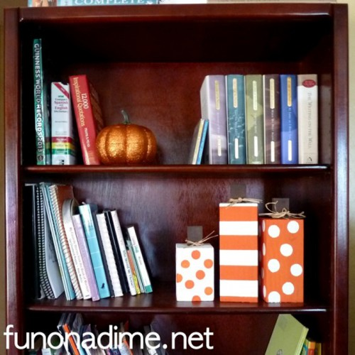 Inexpensive homemade wooden pumpkins